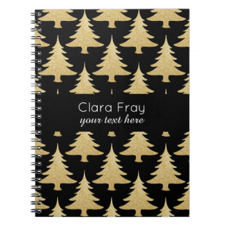 elegant gold glitter Christmas tree pattern black Notebook