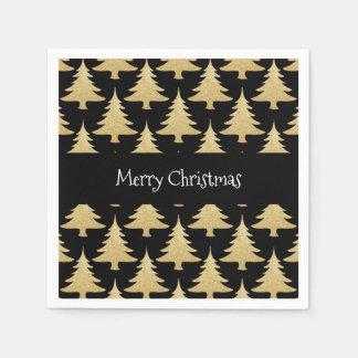elegant gold glitter Christmas tree pattern black Paper Serviettes