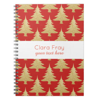 elegant gold glitter Christmas tree pattern red Notebook