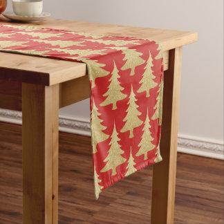 elegant gold glitter Christmas tree pattern red Short Table Runner
