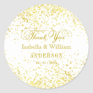Elegant Gold Glitter Confetti Wedding Thank You Classic Round Sticker