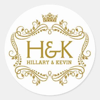 Elegant Gold Glitter Crown & Floral Frame Classic Round Sticker