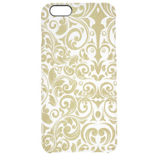 Elegant Gold Glitter Damask Floral Transparent Clear iPhone 6 Plus Case