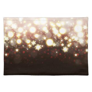 Elegant gold glitter fireworks lights and stars placemat