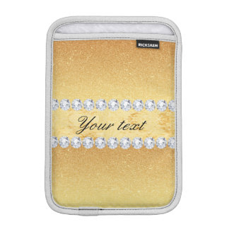 Elegant Gold Glitter Foil and Diamonds iPad Mini Sleeve
