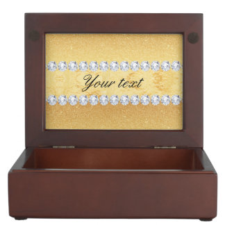 Elegant Gold Glitter Foil and Diamonds Keepsake Box