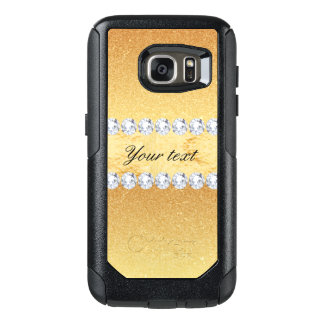 Elegant Gold Glitter Foil and Diamonds OtterBox Samsung Galaxy S7 Case