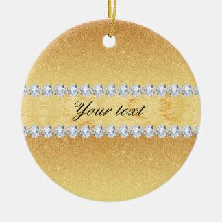 Elegant Gold Glitter Foil and Diamonds Round Ceramic Decoration