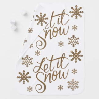 Elegant gold glitter let it snow text snowflakes baby blanket