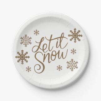 Elegant gold glitter let it snow text snowflakes paper plate