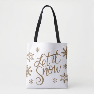 Elegant gold glitter let it snow text snowflakes tote bag