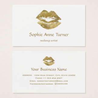 Elegant Gold Glitter Lips Makeup Artist Business Card