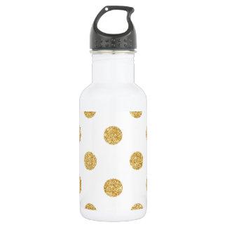 Elegant Gold Glitter Polka Dots Pattern 532 Ml Water Bottle