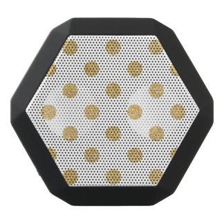 Elegant Gold Glitter Polka Dots Pattern Black Bluetooth Speaker