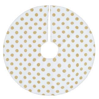 Elegant Gold Glitter Polka Dots Pattern Brushed Polyester Tree Skirt