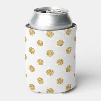 Elegant Gold Glitter Polka Dots Pattern Can Cooler