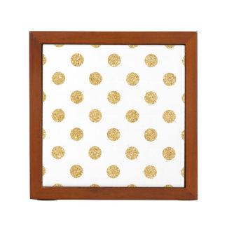 Elegant Gold Glitter Polka Dots Pattern Desk Organiser