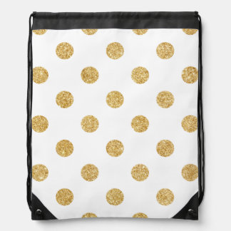 Elegant Gold Glitter Polka Dots Pattern Drawstring Bag