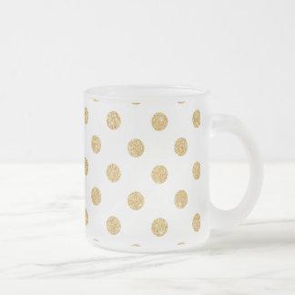 Elegant Gold Glitter Polka Dots Pattern Frosted Glass Coffee Mug