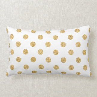 Elegant Gold Glitter Polka Dots Pattern Lumbar Cushion