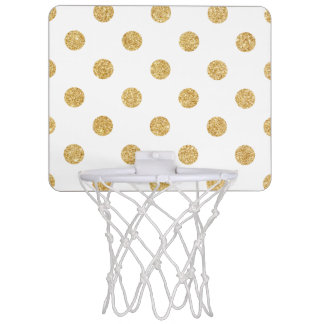 Elegant Gold Glitter Polka Dots Pattern Mini Basketball Hoop