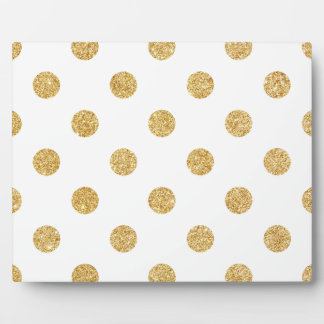 Elegant Gold Glitter Polka Dots Pattern Plaque