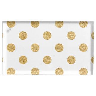 Elegant Gold Glitter Polka Dots Pattern Table Card Holders