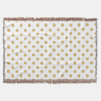 Elegant Gold Glitter Polka Dots Pattern Throw Blanket