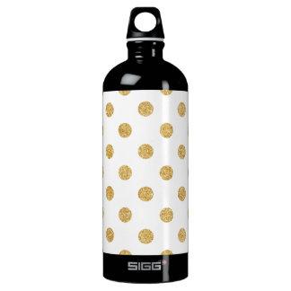 Elegant Gold Glitter Polka Dots Pattern Water Bottle