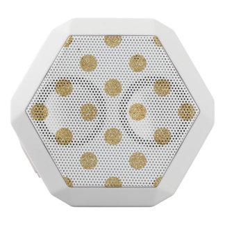 Elegant Gold Glitter Polka Dots Pattern White Bluetooth Speaker