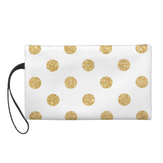 Elegant Gold Glitter Polka Dots Pattern Wristlet