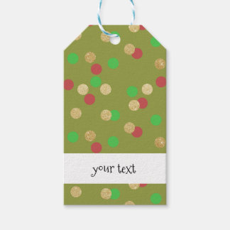 elegant gold glitter red green Christmas confetti Gift Tags