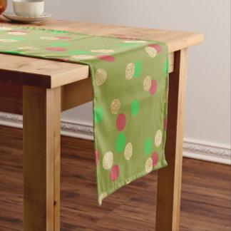 elegant gold glitter red green Christmas confetti Short Table Runner