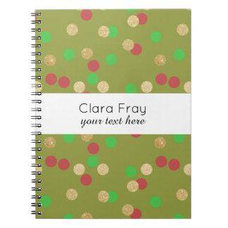 elegant gold glitter red green Christmas confetti Spiral Notebook