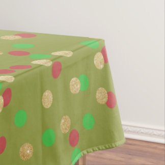 elegant gold glitter red green Christmas confetti Tablecloth