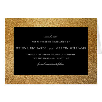 Elegant Gold Glitter | Save The Date Typography Card