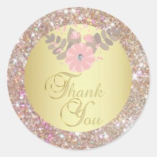 Elegant Gold Glitter Thank You Envelope Seals
