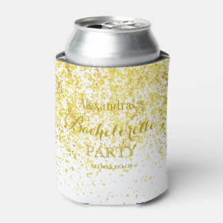 Elegant Gold Glitter Wedding Bachelorette Party Can Cooler