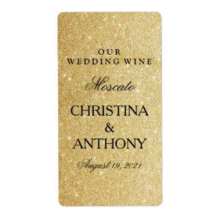 Elegant Gold Glitter Wedding Wine Label Shipping Label