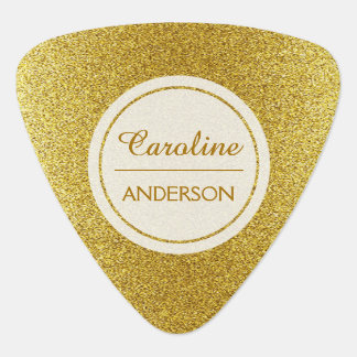 Elegant Gold Glitter with Custom Text Plectrum