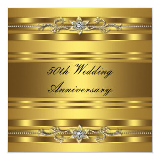 Elegant Gold Golden 50th Wedding Anniversary 13 Cm X 13 Cm Square Invitation Card