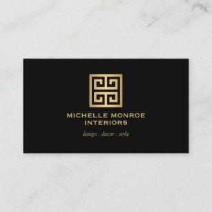 Home staging business cards zazzle au elegant gold greek key interior designer black business card reheart Choice Image