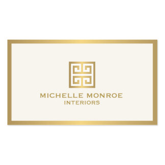 Elegant Gold Greek Key Interior Designer Ivory Pack Of Standard Business Cards