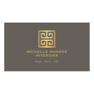 Elegant Gold Greek Key Interior Designer Taupe Pack Of Standard Business Cards