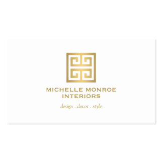 Elegant Gold Greek Key Interior Designer White Pack Of Standard Business Cards