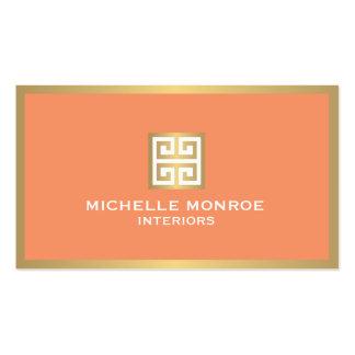 Elegant Gold Greek Key on Coral Interior Designer Pack Of Standard Business Cards
