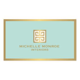 Elegant Gold Greek Key on Mint Interior Designer Pack Of Standard Business Cards