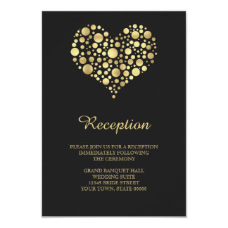 Elegant Gold Heart Dusty Black Reception Info Card