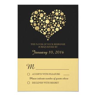 Elegant Gold Heart Dusty Black Wedding RSVP 9 Cm X 13 Cm Invitation Card