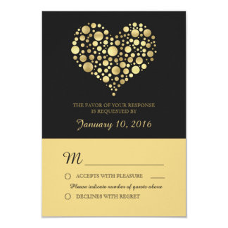 Elegant Gold Heart Dusty Black Wedding RSVP Card